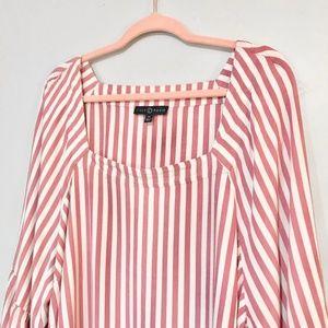 Fred David Tops - Fred David   Pink and White Striped Peplum Hem Top